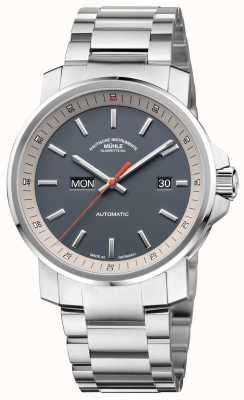 Muhle Glashutte La pulsera de acero inoxidable datum etiqueta 29er gris reloj M1-25-34-MB