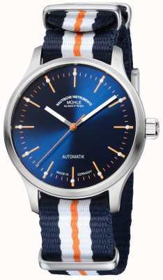 Muhle Glashutte Correa azul naranja sintética con edición limitada de Panova bleu M1-40-72-NB
