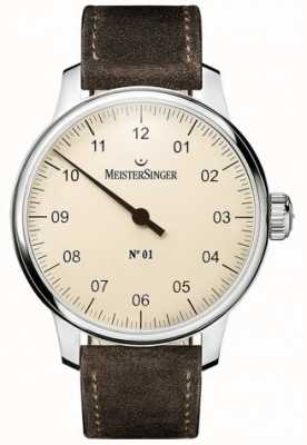 MeisterSinger No. 1 40mm y herida sellita gamuza marrón correa DM303