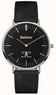 Barbour Correa de cuero negra hartley para hombre, esfera negra BB055BKBK