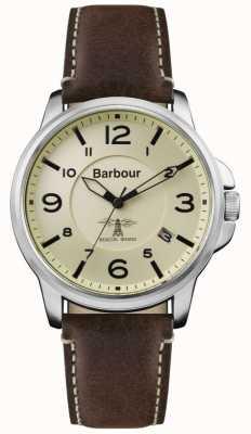 Barbour Correa de cuero marrón marca crema para hombre BB072CPBR
