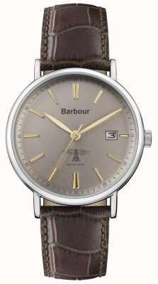 Barbour Hombres bamburgh correa de cuero marrón esfera gris BB069GYBR