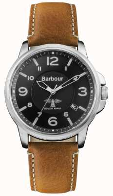 Barbour Correa de cuero marrón para hombre marca negra BB072BKBR