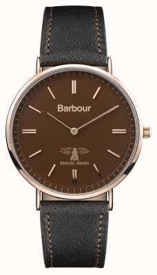 Barbour Correa de cuero negra hartley para hombre, esfera marrón BB055BRBK