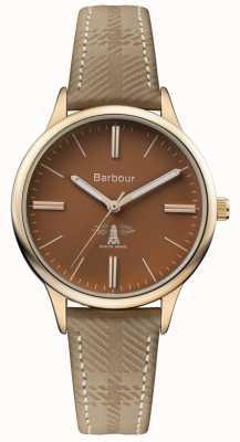 Barbour Correa de cuero marrón marrón para hombre BB058BRKH