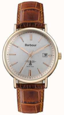 Barbour Hombres bamburgh correa de cuero marrón esfera gris BB069SLBR