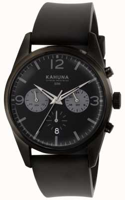 Kahuna Cronógrafo negro para hombre con correa de caucho negro KCS-0010G