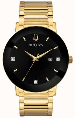 Bulova Reloj moderno para hombre con tono dorado, esfera negra 97D116