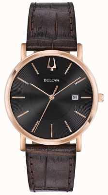 Bulova Reloj de vestir para hombre correa de cuero marrón esfera negra 97B165