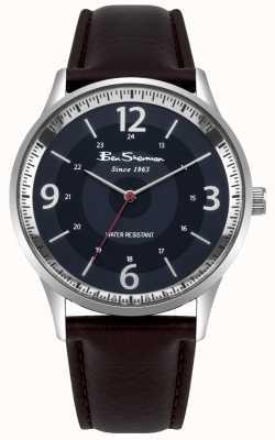 Ben Sherman Reloj de hombre de color marrón marino con correa de cuero marrón BS001UBR