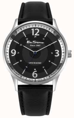 Ben Sherman Reloj de hombre con correa negra de cuero negro BS001BB
