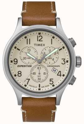 Timex Mens expedición cronógrafo bronceado cuero correa crema marcar TW4B09200