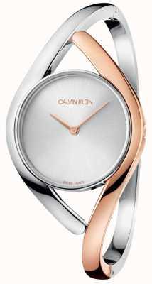 Calvin Klein Reloj de mujer color dorado con dos tonos en acero inoxidable K8U2SB16