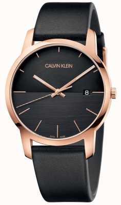 Calvin Klein Reloj de cuero para hombre en oro rosa ciudad K2G2G6CZ