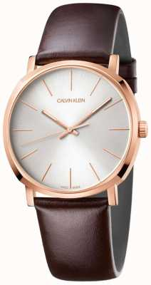 Calvin Klein Reloj de oro rosa con correa de cuero marrón para hombre K8Q316G6