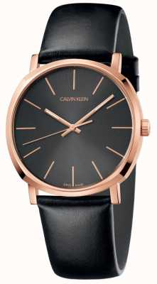 Calvin Klein Reloj de cuero negro para hombre con caja de oro rosa K8Q316C3