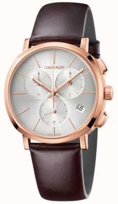 Calvin Klein Reloj de hombre de cuero marrón blanco K8Q376G6