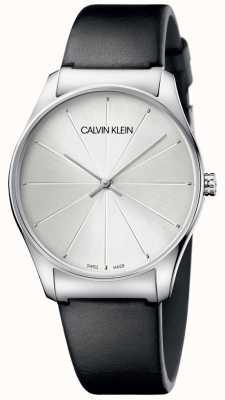 Calvin Klein Reloj de mujer de cuero negro plateado K4D211C6