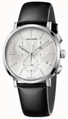 Calvin Klein Reloj de hombre de cuero negro plateado K8Q371C6