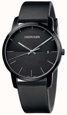 Calvin Klein Reloj negro de cuero negro para hombre K2G2G4C1