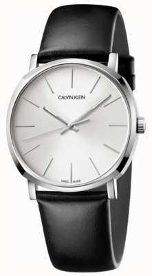 Calvin Klein Reloj de hombre de cuero negro plateado K8Q311C6