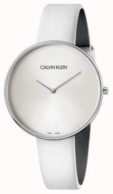 Calvin Klein Reloj de mujer con esfera blanca de cuero blanco K8Y231L6