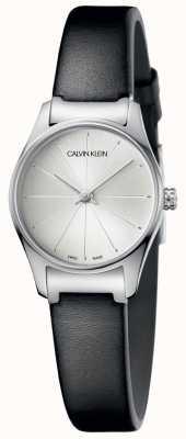 Calvin Klein Reloj de mujer de cuero negro esfera plateada K4D231C6