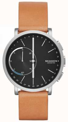 Skagen Hagen conectado reloj elegante correa de cuero marrón esfera negra SKT1104