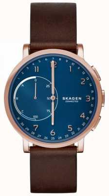 Skagen Hagen conectado reloj elegante correa de cuero marrón esfera azul SKT1103