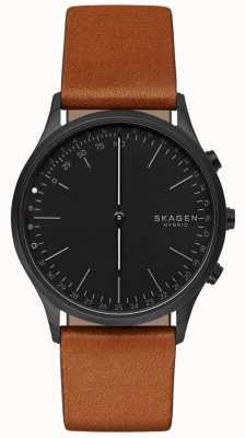 Skagen Jorn conectó reloj inteligente correa de cuero marrón esfera negra SKT1202