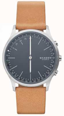 Skagen Jorn conectado reloj inteligente correa de cuero marrón esfera azul SKT1200