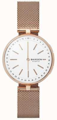 Skagen Signatur conectado elegante reloj de malla de oro rosa esfera blanca SKT1404