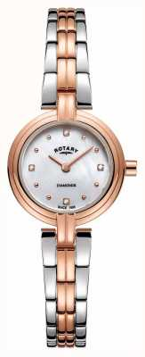 Rotary Diamantes de mujer de dos tonos de oro rosa de acero inoxidable LB00412/41