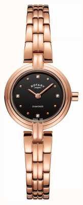 Rotary Diamantes de las mujeres de línea negra pvd plateado rosa oro inoxidable LB00414/15