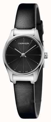Calvin Klein Correa de piel negra clásica correa de cuero negro caja de acero inoxidable K4D231CY