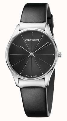 Calvin Klein Correa de cuero negro clásico de las señoras K4D221CY