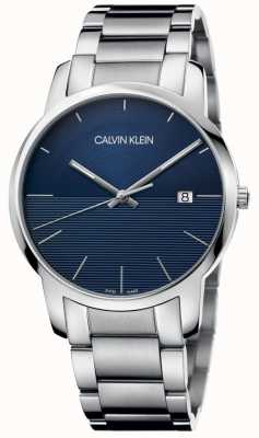 Calvin Klein Brazalete de acero inoxidable azul ciudad K2G2G14Q