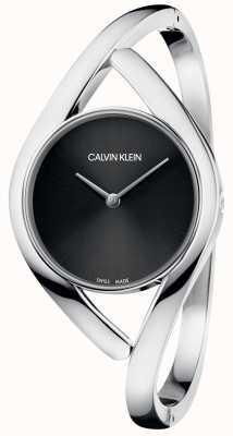 Calvin Klein Partido plata pulsera acero inoxidable esfera negra K8U2S111