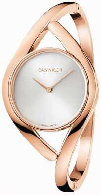 Calvin Klein Pulsera de acero inoxidable rosa y plateada K8U2S616