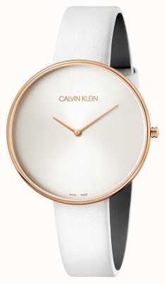 Calvin Klein Reloj de pulsera para mujer de luna llena de cuero blanco K8Y236L6