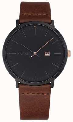 Tommy Hilfiger Reloj james para hombre con correa de cuero marrón esfera gris oscuro 1791461