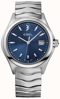 EBEL Exhibición de la fecha de la pulsera del acero inoxidable del dial azul de la onda de los hombres 1216238