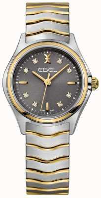 EBEL Diamante de ola de las mujeres establece dos tonos pulsera esfera gris 1216283