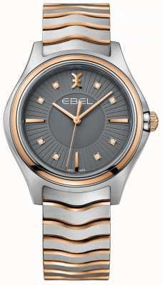 EBEL Brazalete de dos puntas de metal con esfera de diamantes de color gris plateado para mujer 1216309