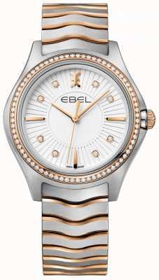 EBEL Brazalete de dos tonos con esfera blanca de diamante para mujer 1216319