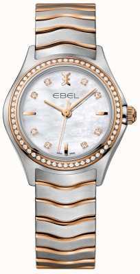 EBEL Las mujeres de la ola de diamantes ola de nácar marcan la pulsera de dos tonos 1216325