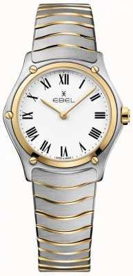EBEL Mujeres deporte clásico blanco esfera dos tonos pulsera de acero inoxidable 1216387