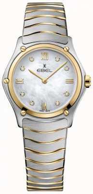 EBEL Esfera de nácar con diamantes clásicos deportivos para mujer en dos tonos 1216388A
