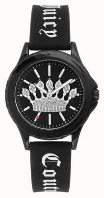 Juicy Couture Correa de silicona negra para mujer reloj esfera negra corona JC-1001BKBK