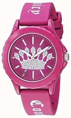 Juicy Couture Correa de silicona rosa para mujer. Reloj con esfera rosa. JC-1001HPHP